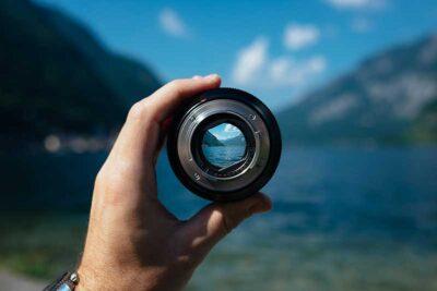 Lens view of ocean